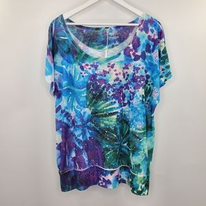 Lane Bryant Boho Floral Sequins Tee Flowy Colorful
